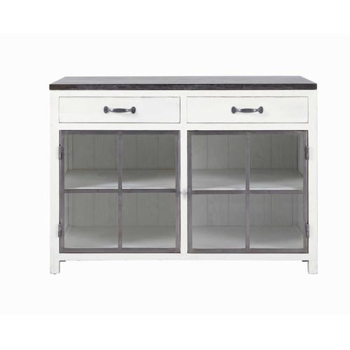 Meuble bas vitr de cuisine en bois recycl et pierre for Element bas de cuisine