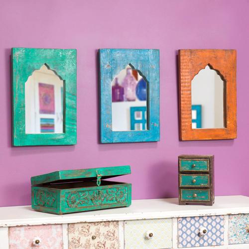 3 miroirs en bois multicolores h 41 cm kurti maisons du monde. Black Bedroom Furniture Sets. Home Design Ideas