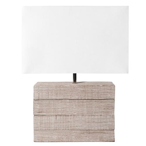 abat jour sospese : Lampada in mango e abat-jour in tessuto H 32 cm LAGON Maisons du ...
