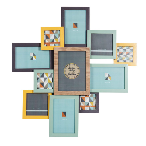 cadre photo 11 vues en bois multicolore 53 x 55 cm vintage corner. Black Bedroom Furniture Sets. Home Design Ideas
