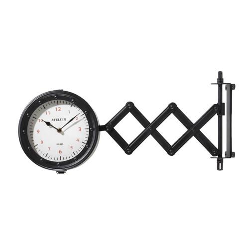 Horloge extensible double cadran en m tal noire d 45 cm hamilton maisons du - Horloge double cadran ...
