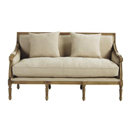 banquette 3 places en lin crue don juan maisons du monde. Black Bedroom Furniture Sets. Home Design Ideas