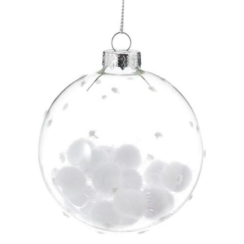 boule de no l en verre blanche d 8 cm flocons iris s. Black Bedroom Furniture Sets. Home Design Ideas