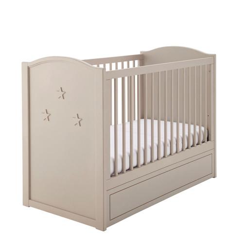 Lit b b barreaux en bois beige l 126 cm circus for Lit bebe chambre parents
