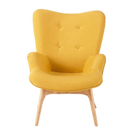 fauteuil vintage en tissu jaune iceberg maisons du monde. Black Bedroom Furniture Sets. Home Design Ideas