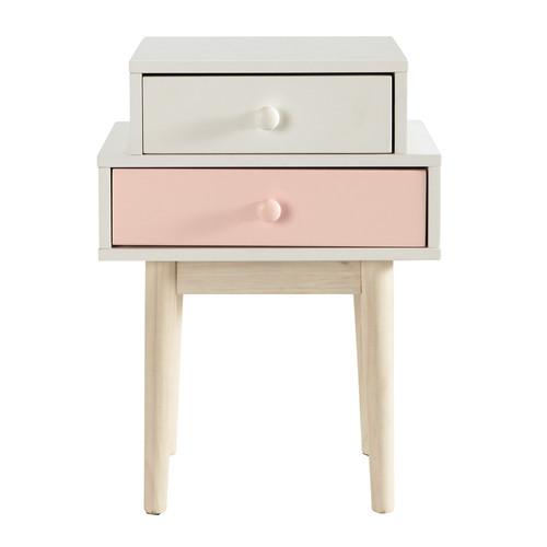 Table de chevet en bois blanche l 42 cm blush maisons du for Table de 0 6