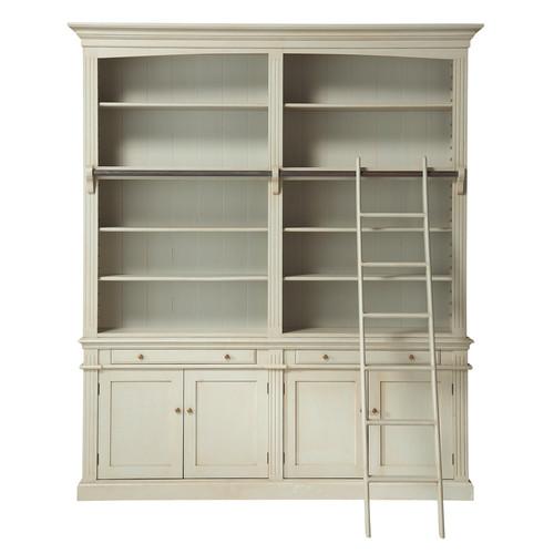 biblioth que avec chelle en bois grise l 200 cm amandine. Black Bedroom Furniture Sets. Home Design Ideas