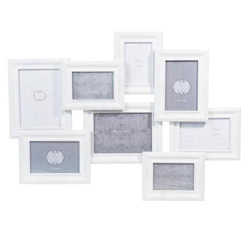 Cornice foto bianca a 8 immagini in legno 48 x 66 cm leona for Cornice bianca foto