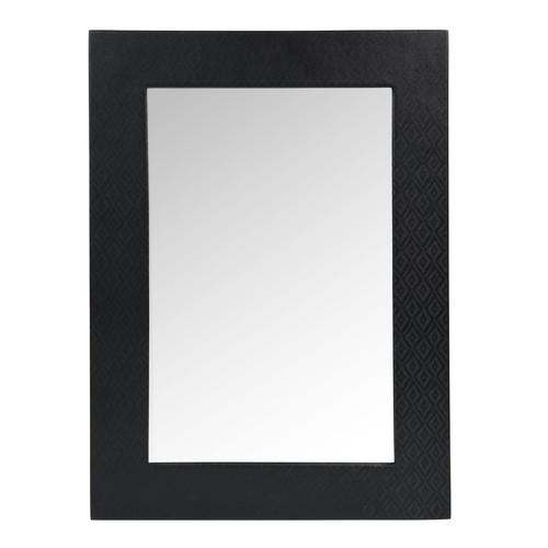 Miroir en bois noir h 55 cm touareg maisons du monde for Miroir bois noir