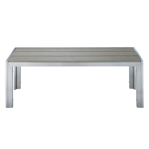 Garden bench in aluminium and imitation wood composite in grey W 120cm Brisbane   Maisons du Monde