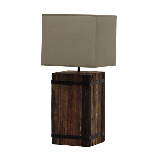 abat jour sospese : Lampada in legno riciclato e abat-jour in cotone beige H 62 cm ...