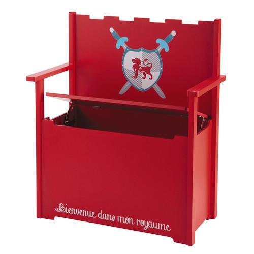 Banco ba l infantil de madera rojo an 65 cm for Banco baul exterior
