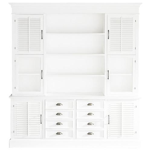 vaisselier en bois blanc l 204 cm cottage club maisons du monde. Black Bedroom Furniture Sets. Home Design Ideas