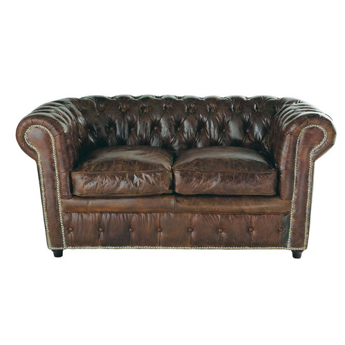 canap capitonn chesterfield 2 places en cuir marron. Black Bedroom Furniture Sets. Home Design Ideas
