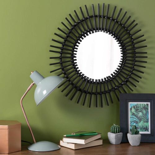Miroir rond en rotin noir d 50 cm kumpa maisons du monde - Miroir en rotin ...