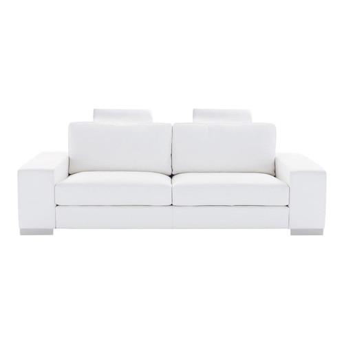Canap convertible 3 places en cuir blanc daytona for Entretenir son canape en cuir