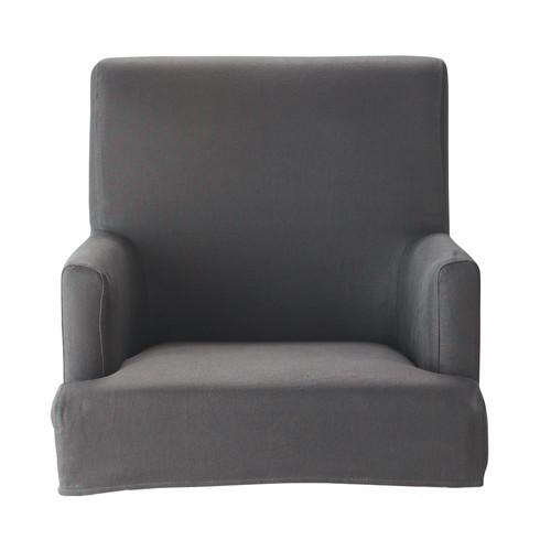 Housse de fauteuil de bar taupe lin lounge maisons du monde for Housse de chaise de bar