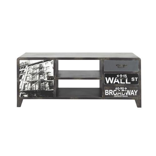 Meuble TV en bois effet métal noir L 120 cm Wall Street  Maisons du Monde -> Meuble Tv Metal Noir
