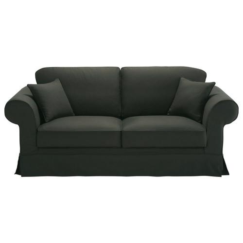 canap 3 places fixe coton anthracite victoria maisons. Black Bedroom Furniture Sets. Home Design Ideas