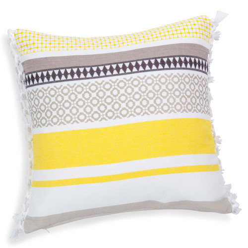 housse de coussin franges en coton jaune grise 40 x 40 cm porto maisons du monde. Black Bedroom Furniture Sets. Home Design Ideas