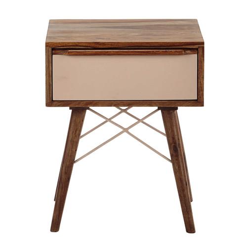 Table de chevet avec tiroir en bois de sheesham massif rose l 42 cm nina ma - Chevet tiroir a suspendre ...