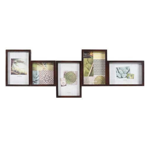 cadre photo 5 vues en bois 22 x 63 cm acajou. Black Bedroom Furniture Sets. Home Design Ideas