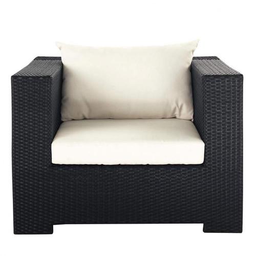Fauteuil de jardin en r sine tress e noir miami maisons - Coussin de fauteuil de jardin ...