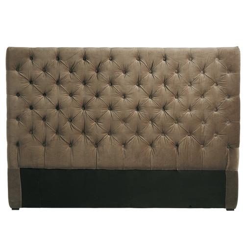 t te de lit capitonn e vintage en velours taupe l 160 cm. Black Bedroom Furniture Sets. Home Design Ideas