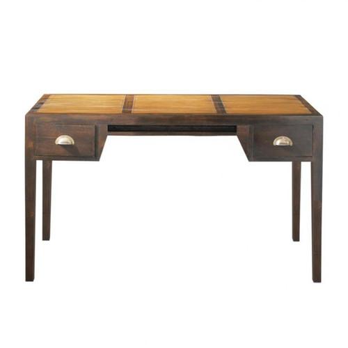 bureau en teck massif teint l 130 cm. Black Bedroom Furniture Sets. Home Design Ideas