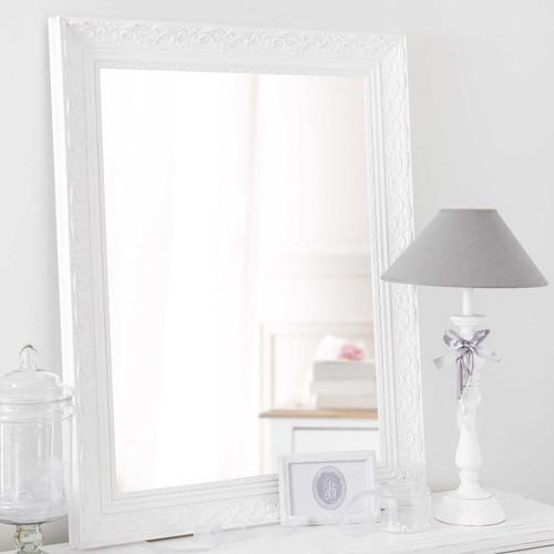 Miroir en bois de paulownia blanc h 90 cm valentine for Miroir bois blanc