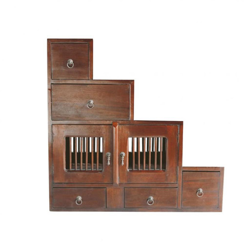 Tag re en mahogany massif marron l 80 cm saigon maisons - Meuble escalier enfant ...