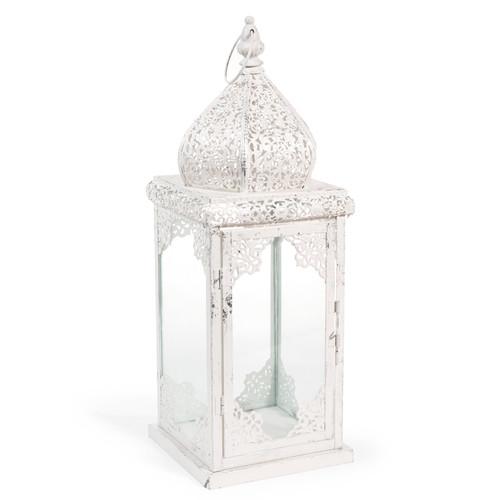 lanterne en m tal blanche h 48 cm ayodhya holi maisons du monde. Black Bedroom Furniture Sets. Home Design Ideas