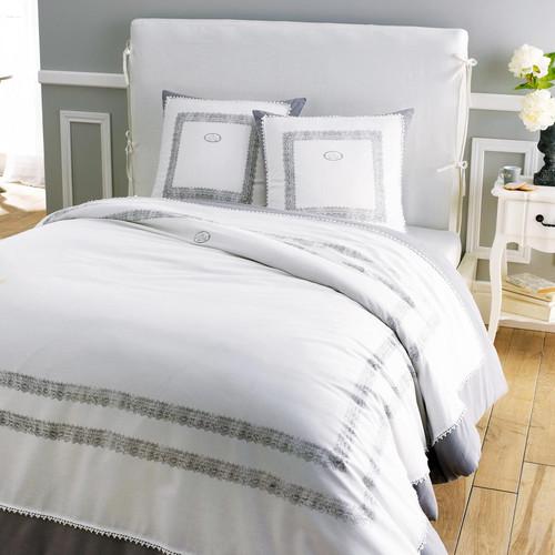 parure housse de couette 240x220 2 taies d 39 oreiller jeanne. Black Bedroom Furniture Sets. Home Design Ideas