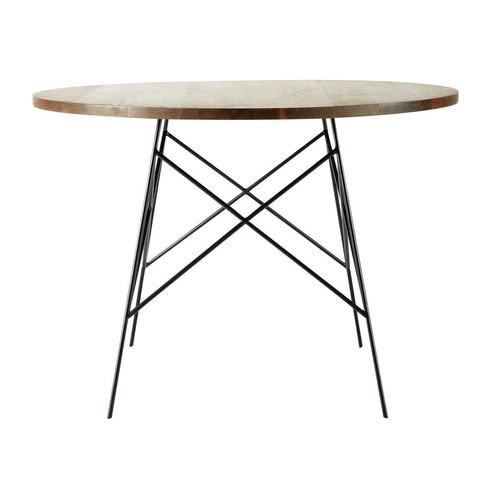 Table de salle manger en noyer massif et m tal l 120 cm - Table ronde maison du monde ...
