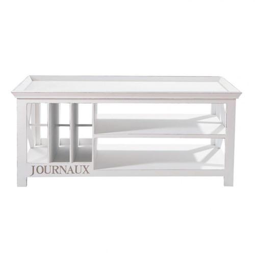 Table basse en bois blanche l 108 cm newport maisons du - Table basse blanche en bois ...