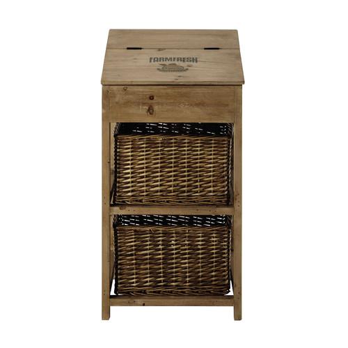 Mueble de almacenaje de madera y mimbre an 45 cm farm for Meuble de rangement en osier