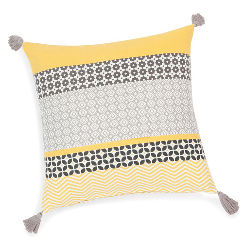 housse de coussin pompons en coton jaune grise 40 x 40. Black Bedroom Furniture Sets. Home Design Ideas