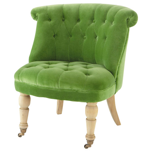 fauteuil capitonn en velours vert constantin maisons du. Black Bedroom Furniture Sets. Home Design Ideas