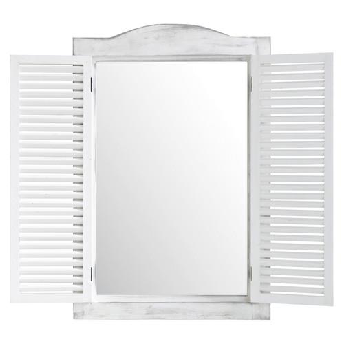 Miroir fen tre en bois blanc h 71 cm oc an maisons du monde for Miroir forme fenetre