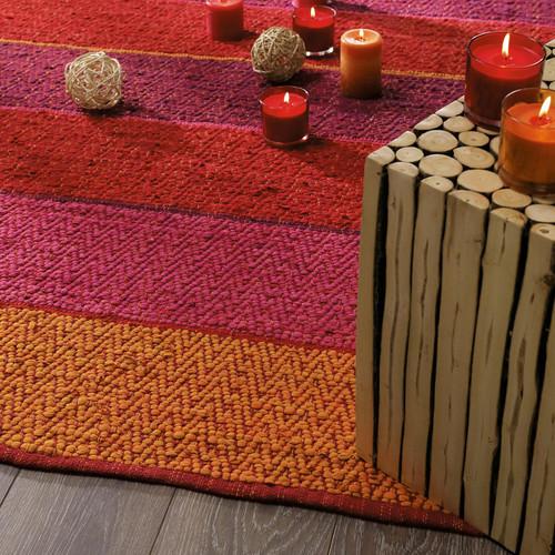 Tapis bayad re tress en coton rouge orang 160 x 230 cm hacienda maisons du monde - Tapis rayures multicolores ...