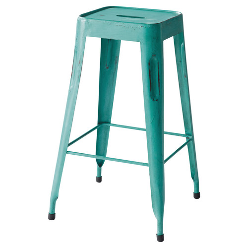 metal industrial bar stool in turquoise jim maisons du monde. Black Bedroom Furniture Sets. Home Design Ideas
