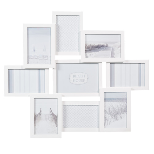 cadre photo 9 vues en bois blanc 50 x 58 cm relief maisons du monde. Black Bedroom Furniture Sets. Home Design Ideas