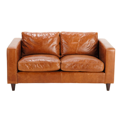 canap vintage 2 places en cuir marron henry maisons du monde. Black Bedroom Furniture Sets. Home Design Ideas