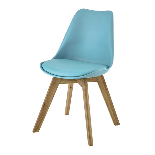 Chaise en polypropyl ne et ch ne bleue ice maisons du monde for Chaise ice maison du monde
