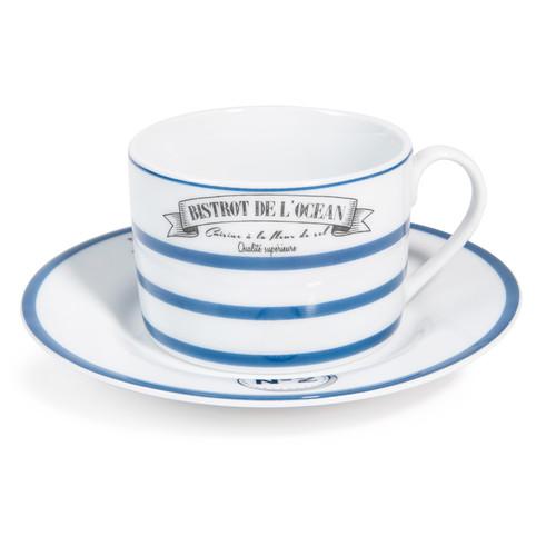 Tasse et soucoupe th en porcelaine blanche mariniere - Service vaisselle maison du monde ...