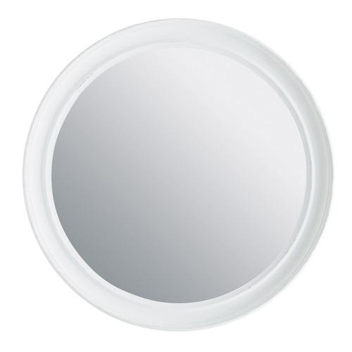 Miroir elianne rond blanc maisons du monde for Miroir rond gris