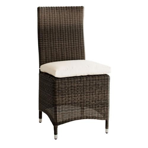 Chaise de jardin coussin en r sine tress e et tissu marron bali maisons d - Chaise resine tressee ...