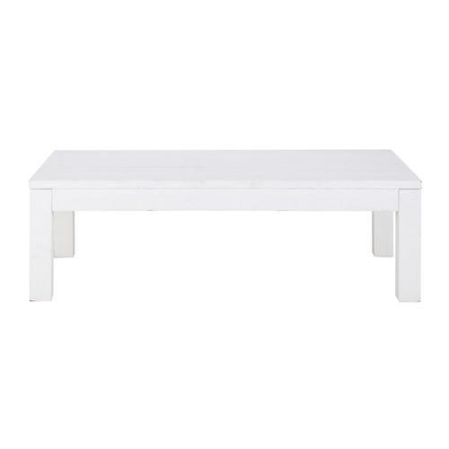 Table basse en bois massif blanche l 120 cm white - Table basse rectangulaire blanche ...