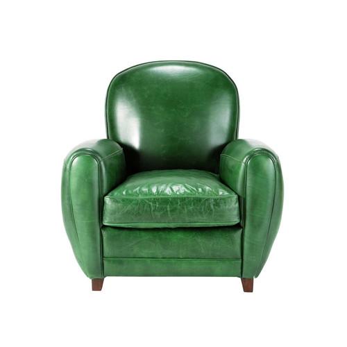 fauteuil cuir vert vintage oxford maisons du monde. Black Bedroom Furniture Sets. Home Design Ideas