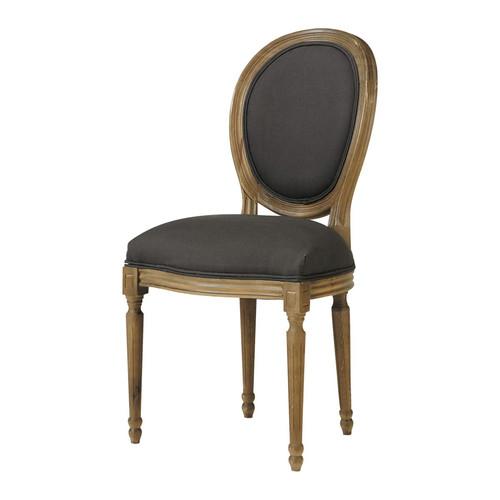 chaise m daillon en lin et ch ne massif noire. Black Bedroom Furniture Sets. Home Design Ideas